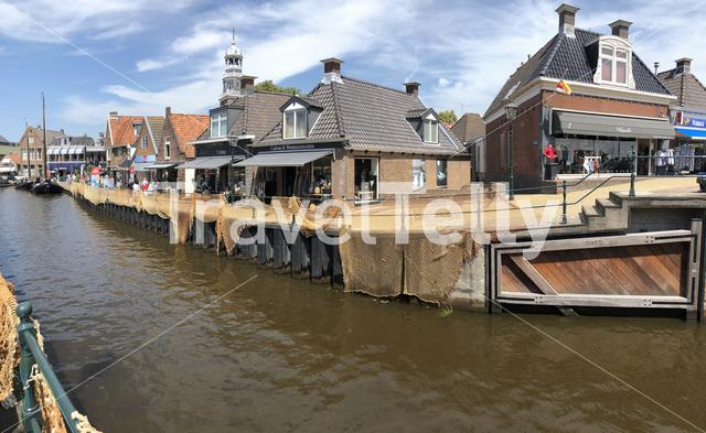 Panorama from the canal of Lemmer, Friesland The Netherlands