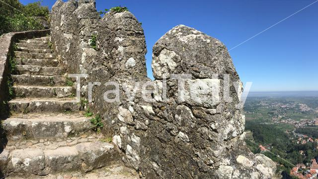 Stairs towards the Royal Tower of Castelo dos Mouros in Sintra Portugal
