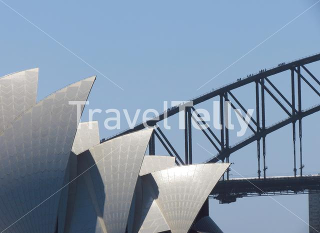 People walking at the Harbour bridge in Sydney