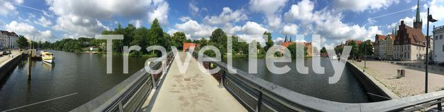 Panorama from the Trave river and houses in the old town of Lübeck Germany