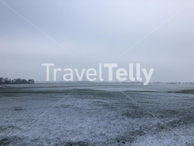 Winter landscape around Warns in Friesland The Netherlands