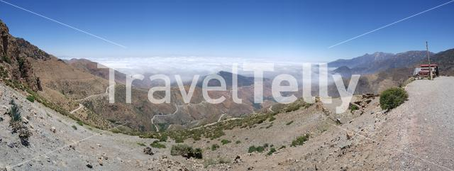 Panoramic scenery from Toubkal National Park in Morocco, Africa