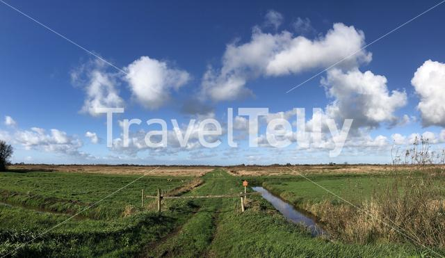 Panorama from nature reserve around Nijetrijne in Friesland, The Netherlands