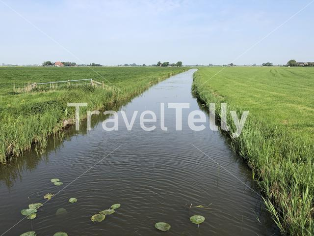 Canal through farmland in Friesland, The Netherlands