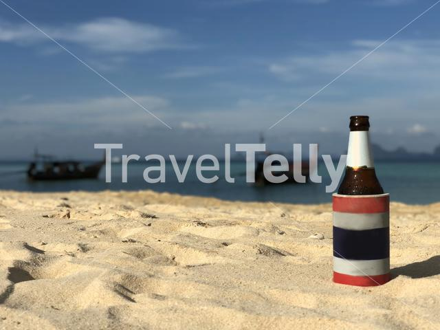 Beer on the beach at Koh Ngai island in Thailand