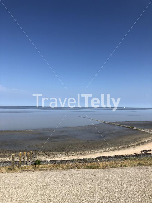 A dike in Friesland next to the wadden sea in The Netherlands