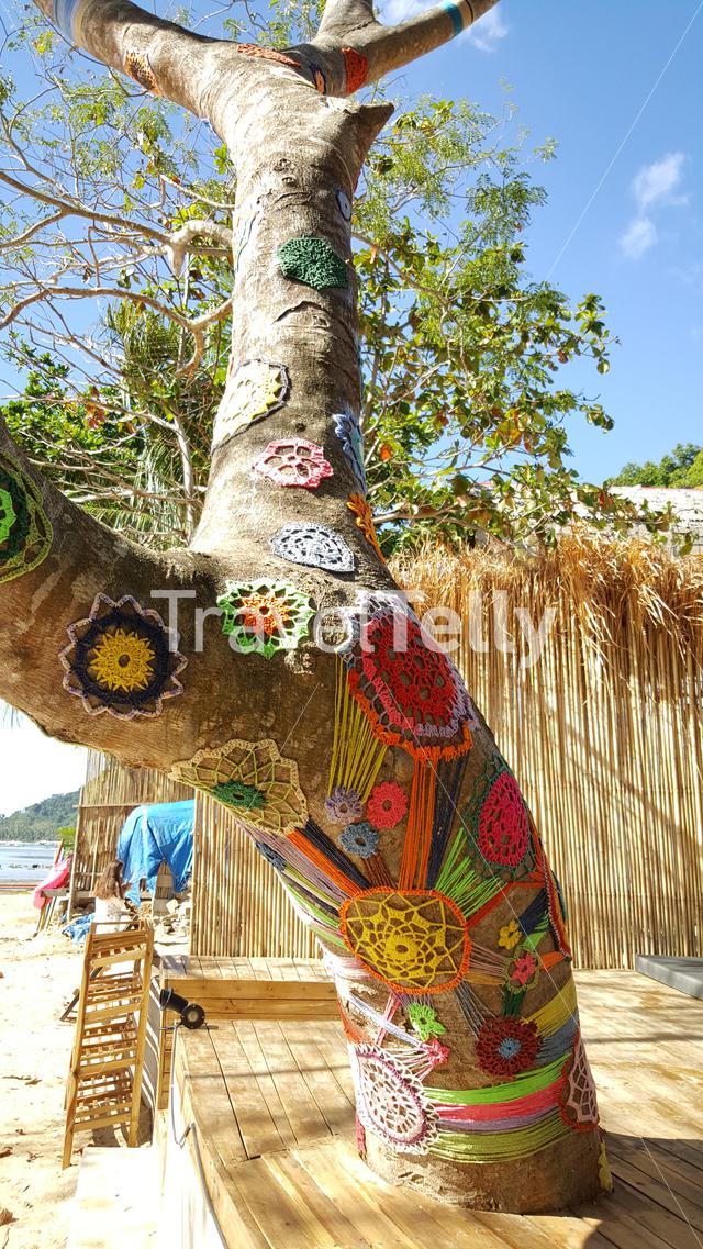 Colorfull tree with decoration at beach of El Nido