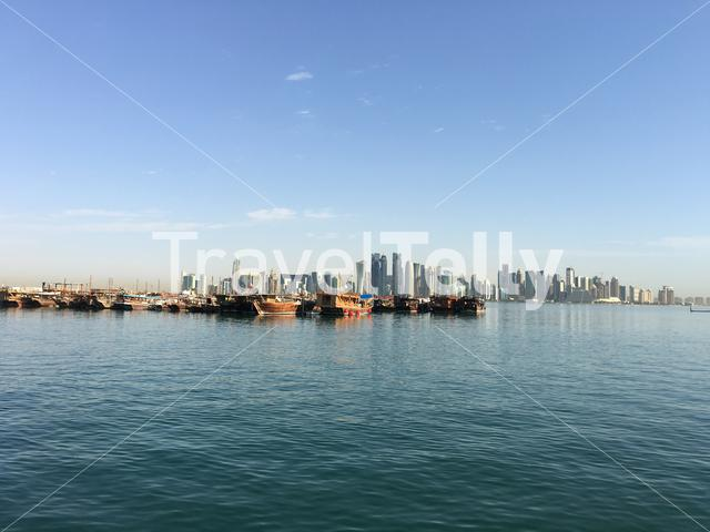 Traditional Dhow, Arab sailing vessels in the Dhow Harbour in Doha Qatar