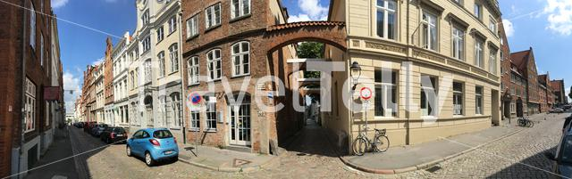 Panorama from buildings in the old town of Lübeck Germany