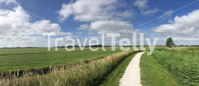 Panorama from a path towards IJlst in Friesland The Netherlands