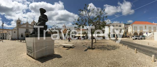"Panorama from the statue of Infante D. Henrique and the ""Slave Market"" (Mercado de Escravos) in Lagos Portugal"