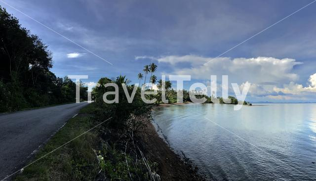 Road along the coast of Koh Chang island in Thailand