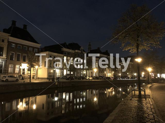 Canal at night in Groningen The Netherlands