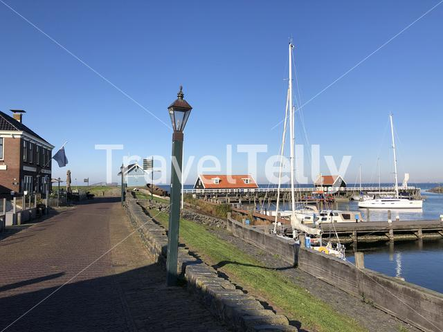 Harbor in Hindeloopen during autumn in Friesland, The Netherlands