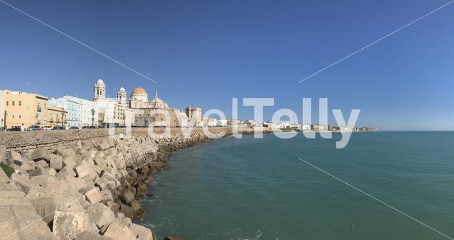 Panorama from Bay of Cadiz in Cadiz Spain