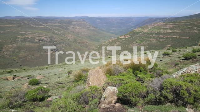 Mountains around Thaba-Tseka in Lesotho Africa