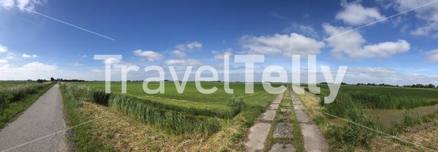 Panorama from frisian landscape in Friesland, The Netherlands