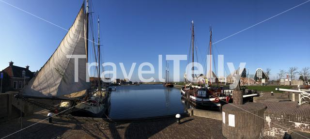 Panorama from the harbor of Stavoren, Friesland The Netherlands