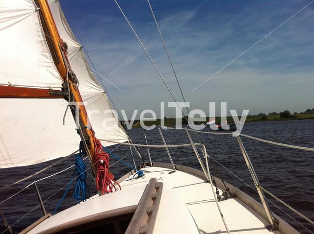Sailing at Alde Wei in Friesland The Netherlands