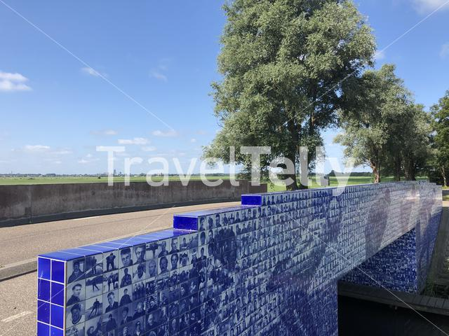 The Elfstedenmonument a bridge over the Murk river in Friesland The Netherlands