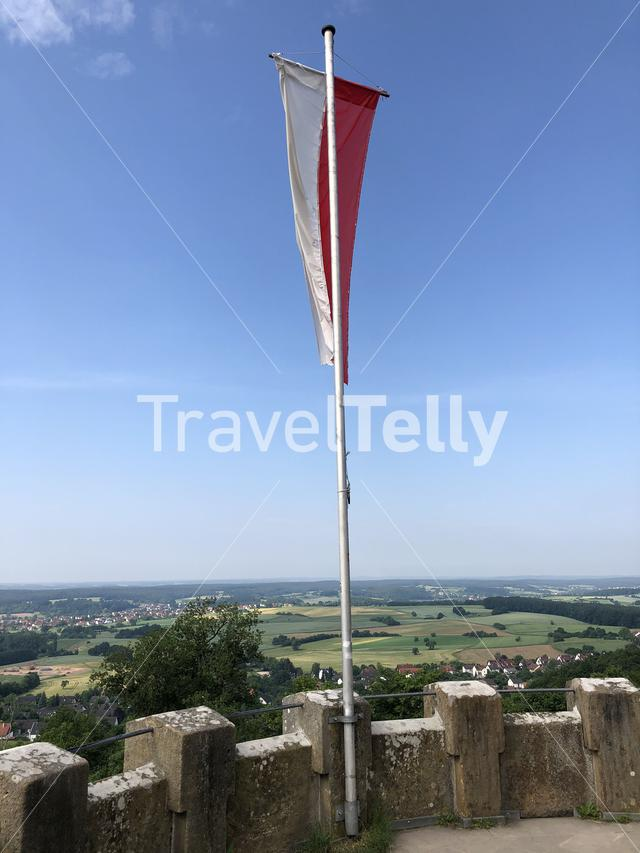 Flag on the tower of the Altenburg Castle in Bamberg Germany