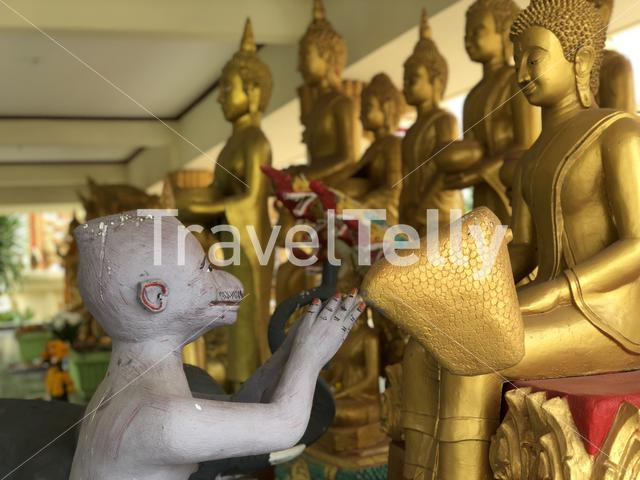 Buddha statues at What Pha That Luang in Vientiane Laos
