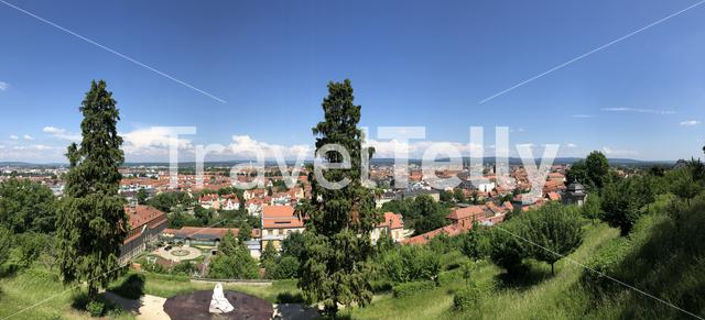 Scenic panorama city view from the Kloster Michelsberg in Bamberg, Germany