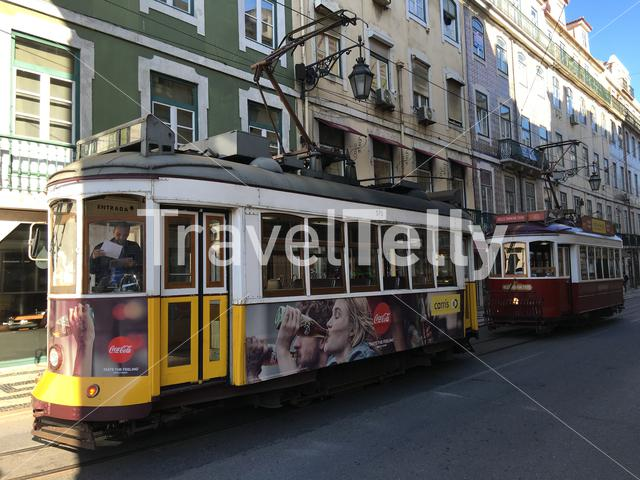 Trams in the streets of Lisbon Portugal
