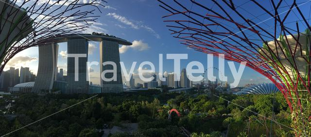 Marina Bay Sands, Singapore Flyer and Flower dome from the Supertree Grove at Gardens by the Bay in Singapore