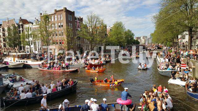 Boats on canal Amsterdam at Gay Pride