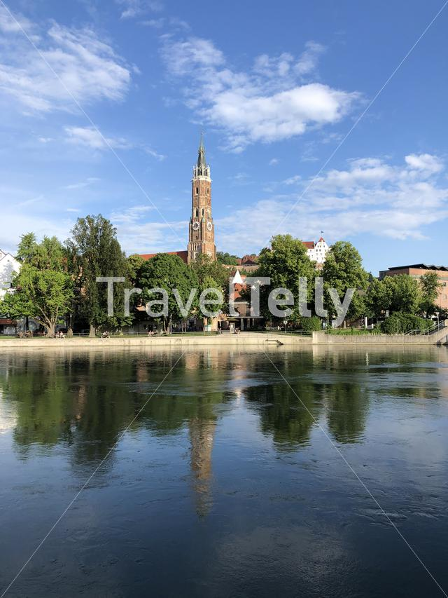 St. Martin's church and the isar river in Landshut, Germany