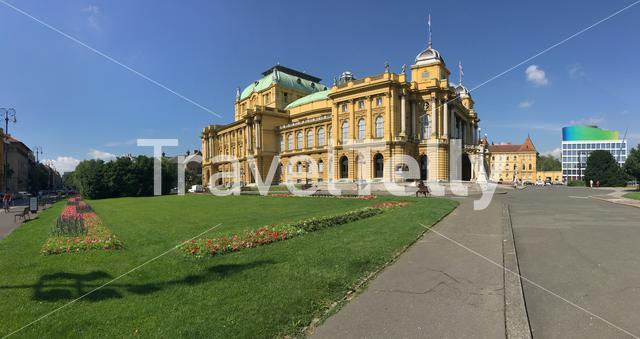 Panorama from the Croatian National Theatre in Zagreb Croatia