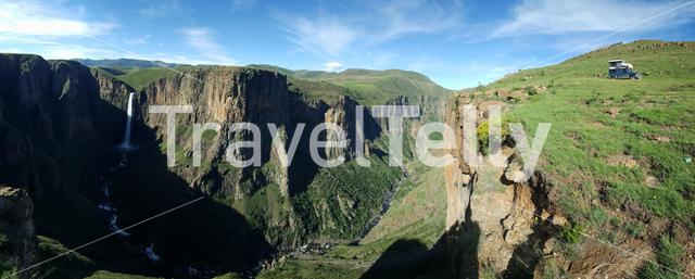 Panoramic scenery of the Maletsunyane Falls in Lesotho Africa