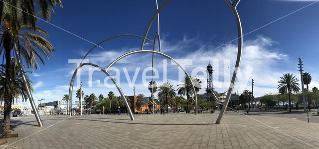 Panorama from a square at the Torre de Jaume I in Barcelona Spain