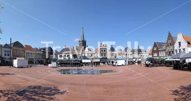 Panorama from the old town square of Steenwijk, The Netherlands