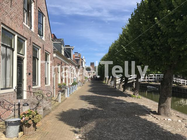 Houses a long the canal in Sloten, Friesland The Netherlands