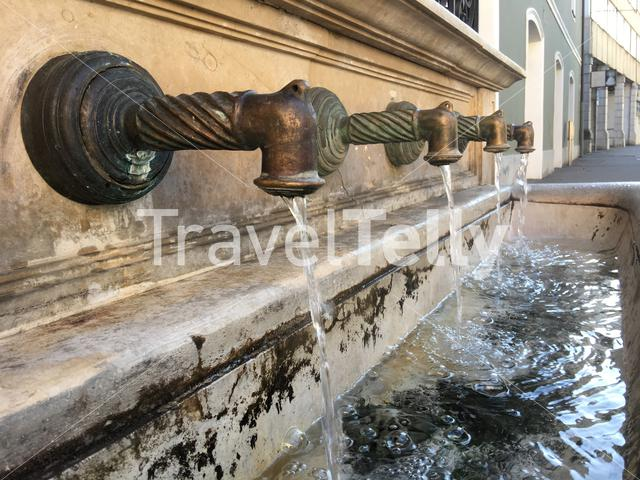 Water basin downtown Eger Hungary