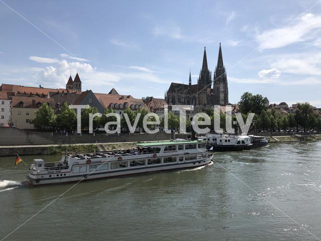 Cruise on the Danube river in Regensburg, Germany