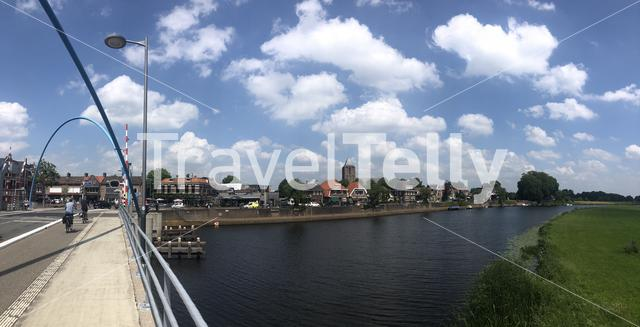 Dalfsen and a bridge over the river Vecht in Overijssel, The Netherlands