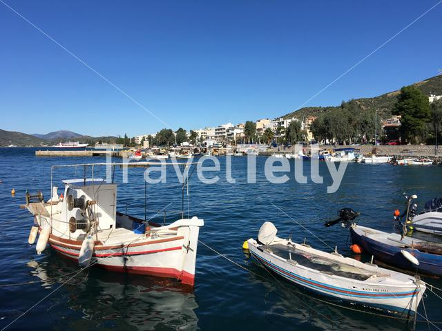 Fishing boats in the harbour of Loutra Edipsou Greece