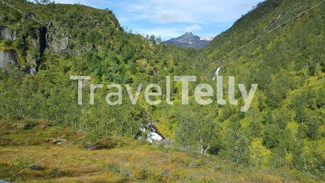 Green mountain range landscape in Moysalen National Park Norway