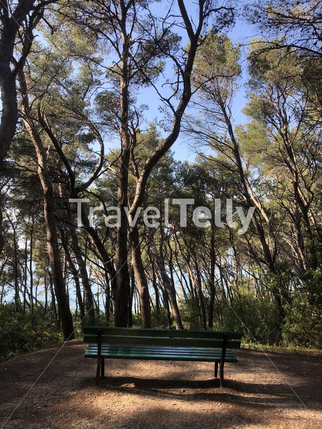 Park bench at Marjan Forest Park in Split Croatia