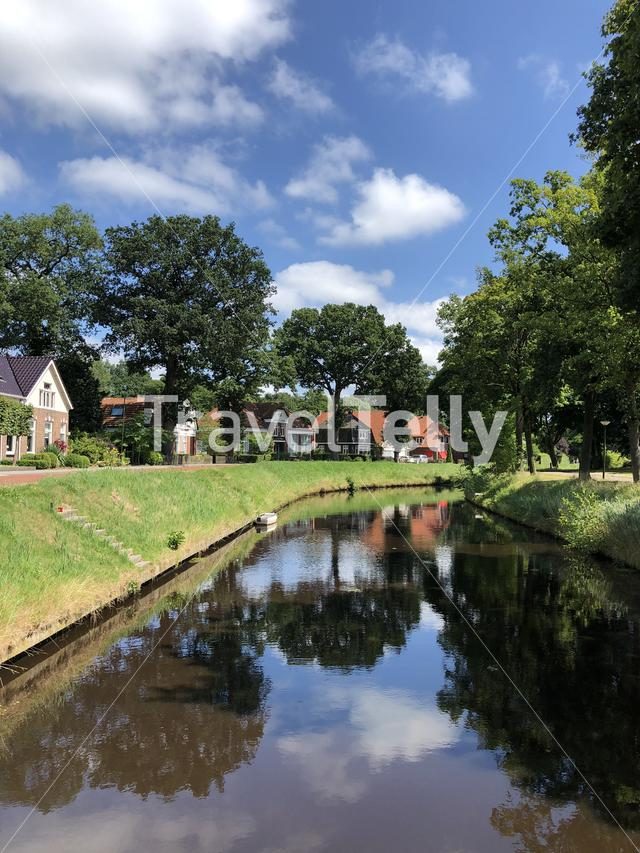 Canal in Oosterwolde, Friesland The Netherlands