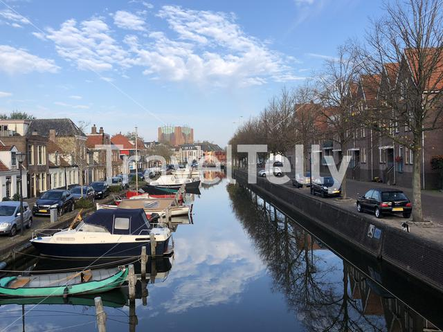 Canal in Sneek during autumn, Friesland The Netherlands