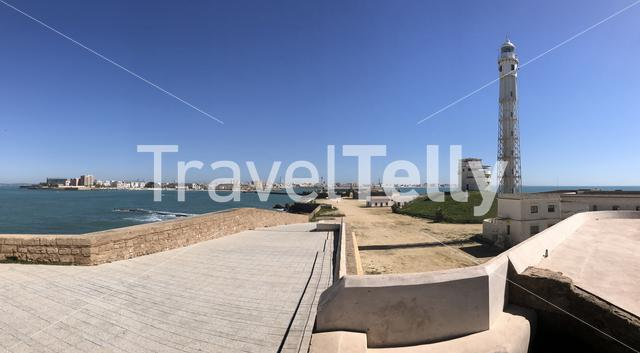 Panorama from the Castle of San Sebastian in Cadiz Spain