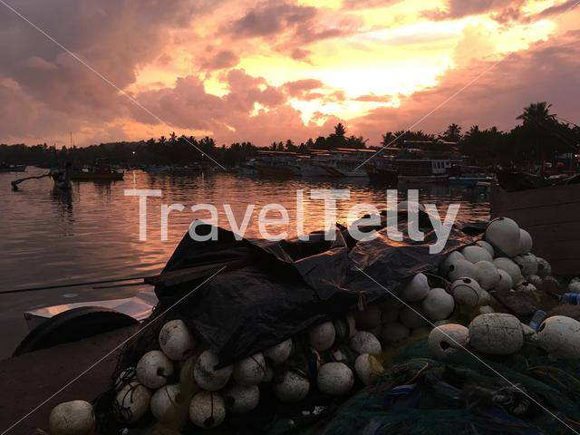 Sunrise in the harbour of Mirissa Sri Lanka