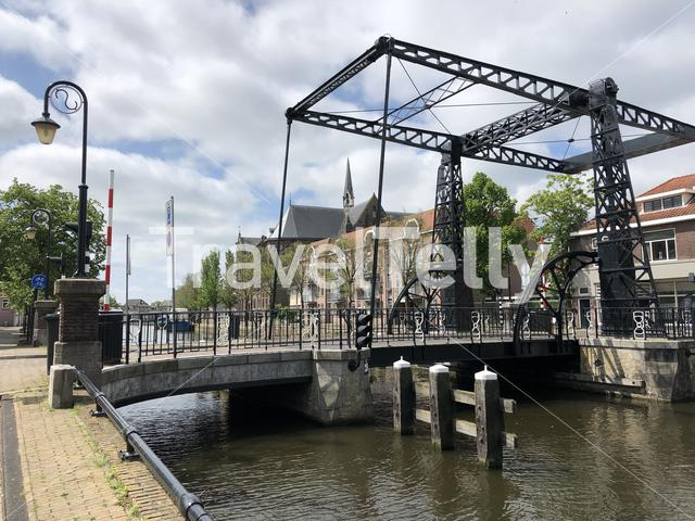 Bridge over a canal in Sneek, The Netherlands