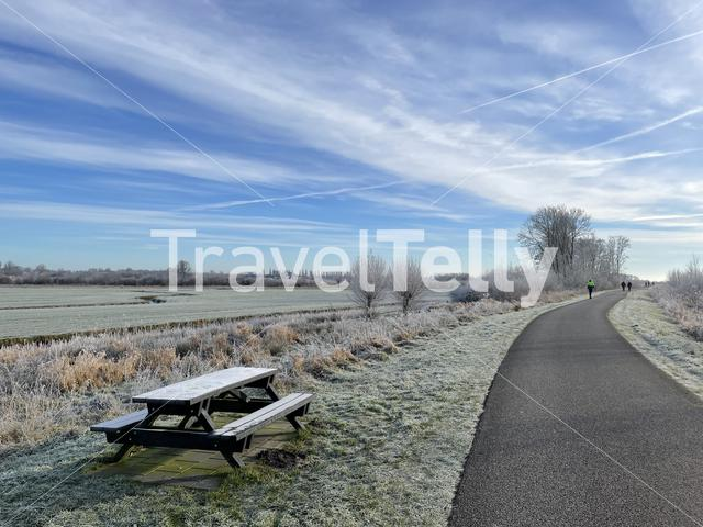 Winter landscape around Sneek, Friesland The Netherlands