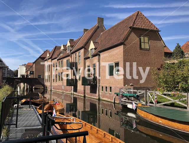 Boats in a canal around the Berkelpoort in Zutphen, Gelderland The Netherlands