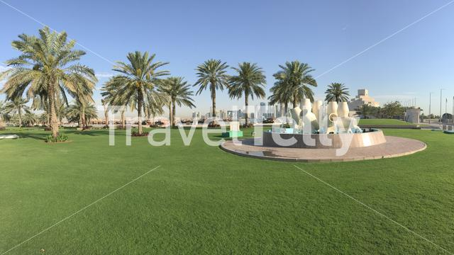 Panorama from the fountain located along the Dhow Harbour on the Corniche in Doha Qatar